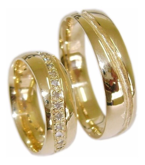 Par Aliança Ouro 18 K Anatômica 12 Gr 6,2 Mm 40 Diamantes 55