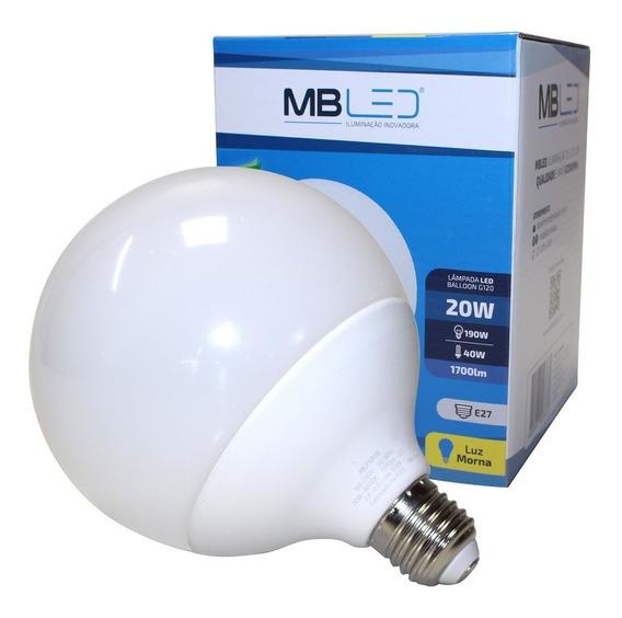 Lâmpada Led 20w Globo Balloon Bola G120 Branco Morno 3000k