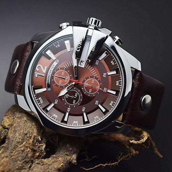 Relógio Curren 8176 Couro 100% Original - Envio Em 24h