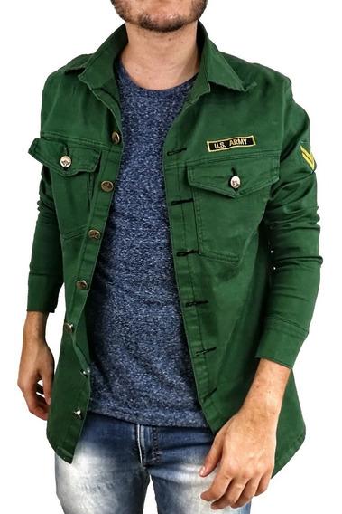 Jaqueta Jeans Militar Exército Longline Slim Fit Masculina
