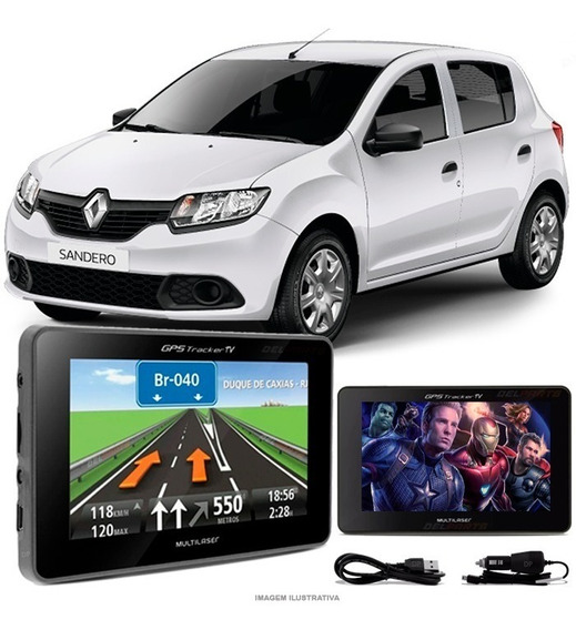 Gps Automotivo Renault Sandero Tela 4.3 Voz Tv Digital Fm