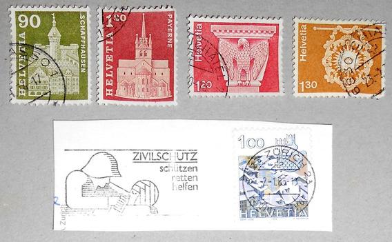 Lote De 5 Estampillas Suizas