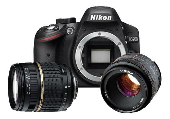Nikon D3200 + Lente Nikon 50mm + Lente Tamron 18/200 + Bolsa