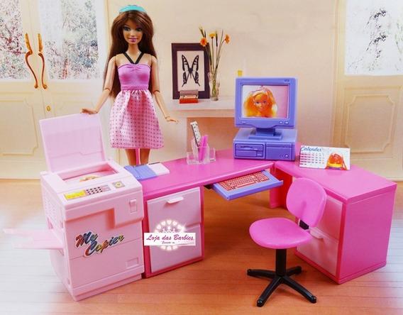 Escritório Luxo Para Boneca Barbie Completo Acessórios Casa