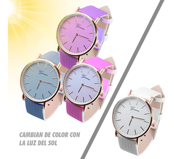 Reloj Dama Cambia De Color Sol Piel Vinil