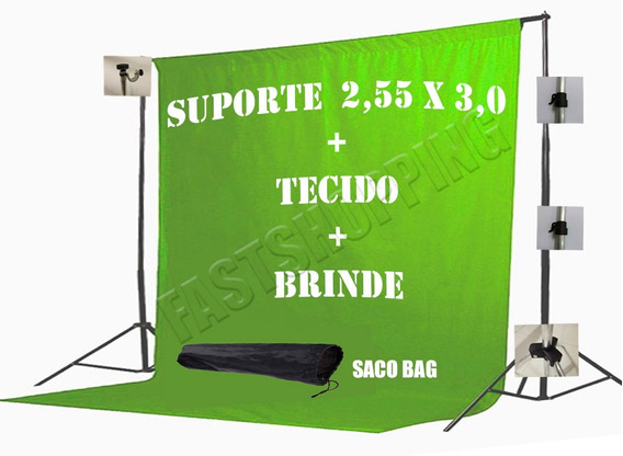 Tecido 3x4 Verde+ Supote Fundo Infinito Youtube Chroma Key