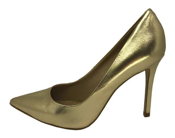Sapato Dourado Scarpin Couro Sugestao De Presente Festa Prom