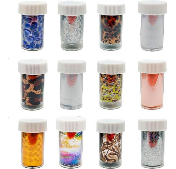 Kit 12 Potes Foil 3d Transfer Unhas Decoration Nails