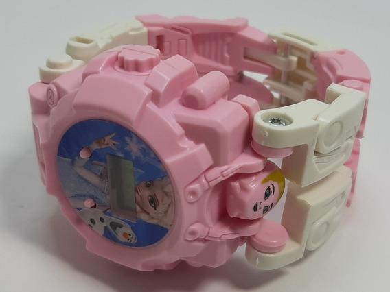 Relógio Infantil Frozen, Robô, Digital Rosa Transformers