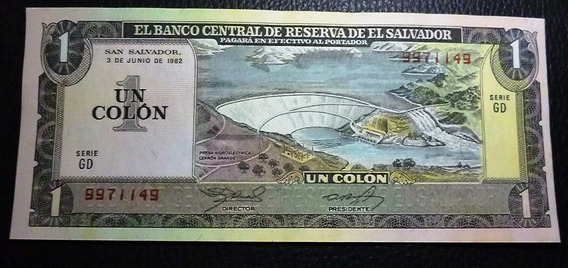El Salvador Billete 1 Colon Xf+ 1982 Pick 133a