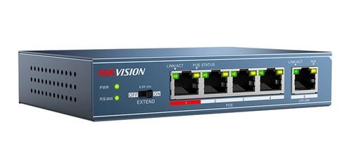 Switch Poe Hikvision 4 Puertos + 1 Uplink 30w Ds-3e0105p-e/m