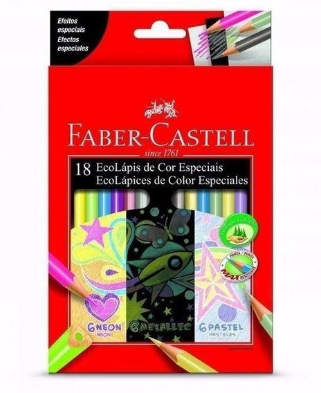18 Eco Lápices Color Especiales Faber Neon Pastel Metalic