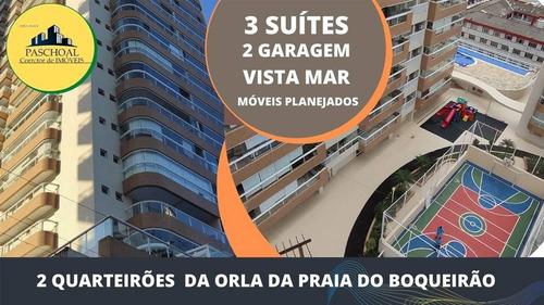Apartamento 3 Suítes, 2 Vagas, Varanda Gourmet E Vista Mar. Boqueirão Praia Grande Sp - Lup97