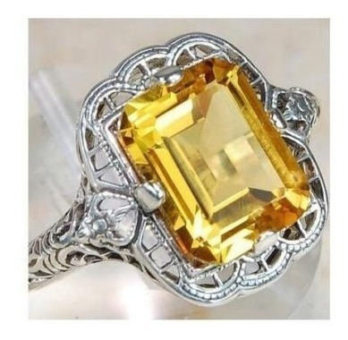 Anel Prata S925 Pedra Safira Amarela Tamanho 15 (16,5mm)