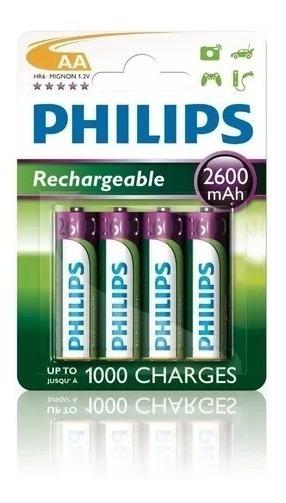 Pilha Philips Recarregável Aa 1.2v 2600mah Ni-mh C/4 Unidade