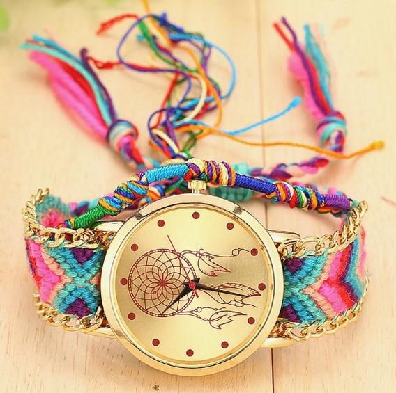 Relógio Feminino Dourado Barato Original Pulseira Rosa Lindo