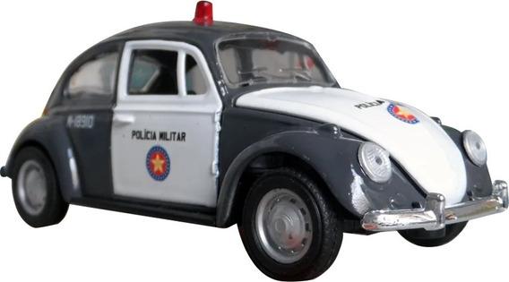 Miniatura Fusca Pm Sp Polícia Militar Cinza E Branco