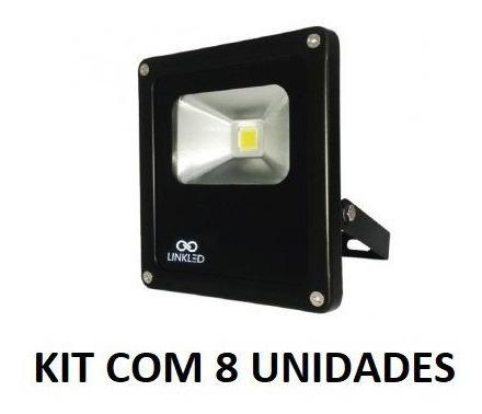 Kit 8 Unidades De Refletor Led 10w Bivolt Branco Frio 6000k