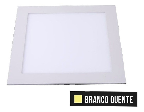 Painel Plafon Lumi 12w Led Quadrado Slim Embutir 3000k Bivot