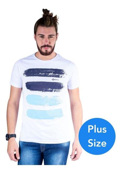 Camiseta Mister Fish Arte Com Tinta Plus Size Branco