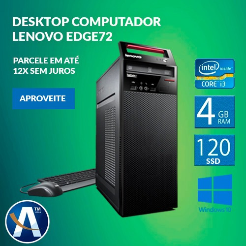 Desktop Computador Lenovo Edge72 I3 4gb Ram Hd Ssd 120gb