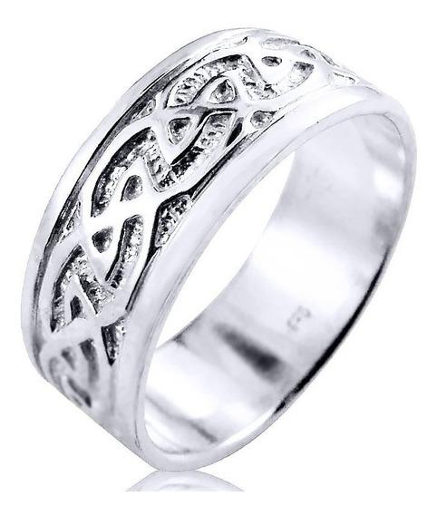Anel Pura Prata 925 Masculino Infinito Celta - Exclusivo