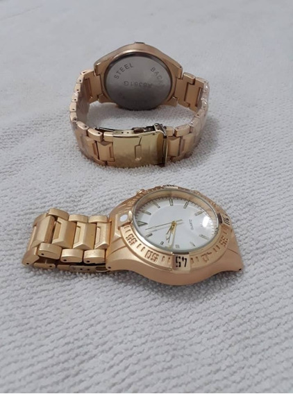 Dois Relógio Dourado Arrojado / Robusto Novo Masculino
