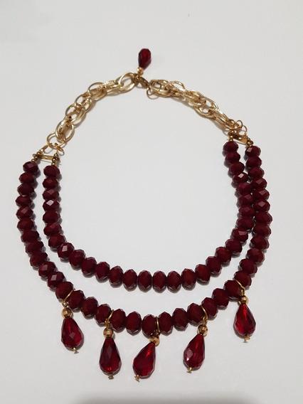 Gargantilla Cristal Con Gotas Cristal Rojo Chapa Oro