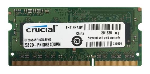 Memoria Ram Crucial Laptop 2gb Ddr3/1600 Mhz Pc3-12800