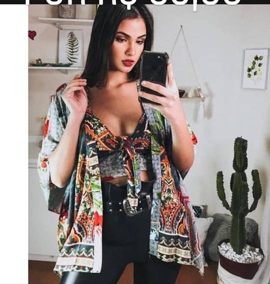 Conjunto Kimono E Cropped