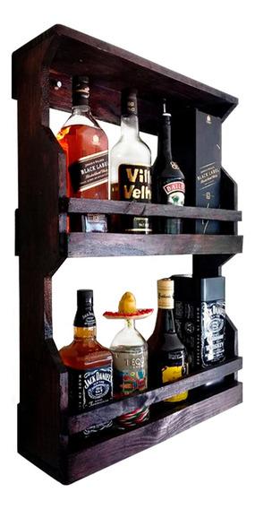 Bar De Parede Rústico Até 8 Garrafas 2 Andares Art Madeira