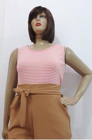 Roupa Feminina Plus Size Blusa Canelada Regata +cor G Ao G3