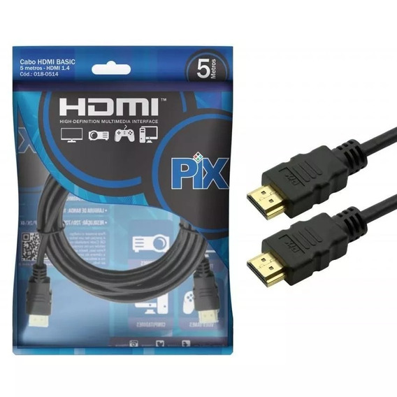Cabo Hdmi Pix Gold 1.4 - 4k Ultra Hd 5 Metros Xbox Ps4 - 018-0514