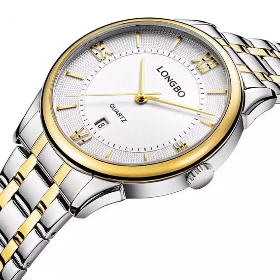 Relógio Longbo Masculino Prata/dourado Clássico Original