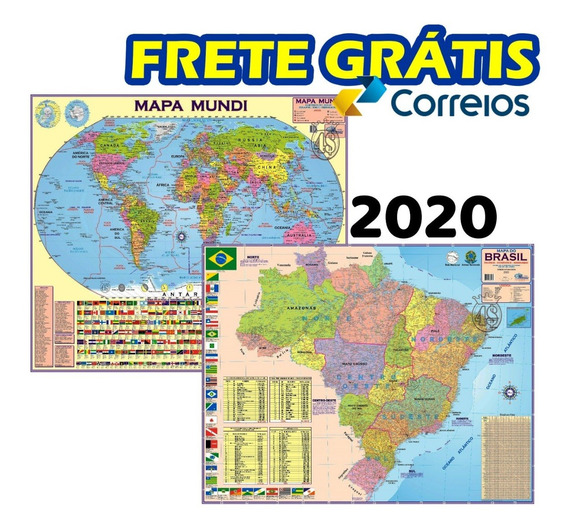 2 Mapa: Mundi + Brasil Escolar Politico + Frete Grátis!!