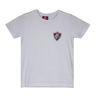 Camiseta Fluminense Escudo Infantil Branca