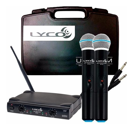 2 Microfones Lyco Uh02 Uhf Sem Fio Receptor 02mm + Maleta