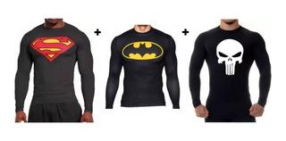 Super Kit 3 Rashs Guards Justiceiro, Superman E Batman Uv+