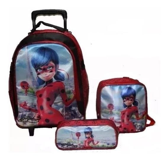 Kit Mochila Escolar Infantil Miraculous Ladybug Com Rodinhas
