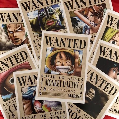 Imagen 1 de 3 de Cartel Wanted Mugiwara X 9 One Piece Antigua Recompensa