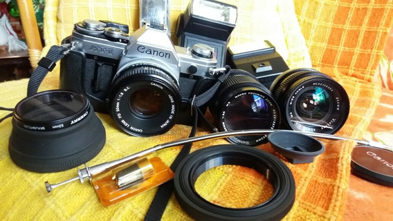 Máquina Fotográfica Canon At-1 Com 2 Lentes Vivitar