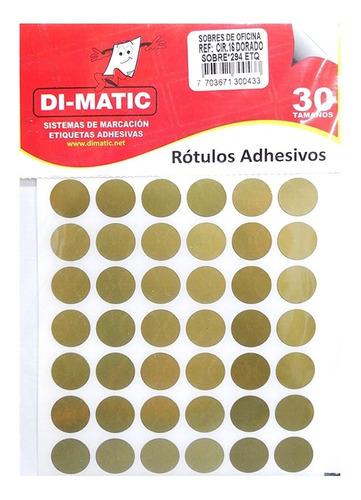 Imagen 1 de 4 de Rótulos Adhesivos, Círculos Dorados Ref 16 Dimatic.
