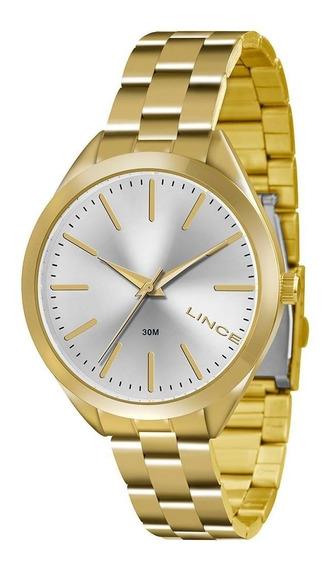 Relógio Lince Dourado Tam Médio Lrg4329l Original Novo