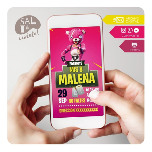 Invitación Digital Fortnite Niña - Salta Violeta