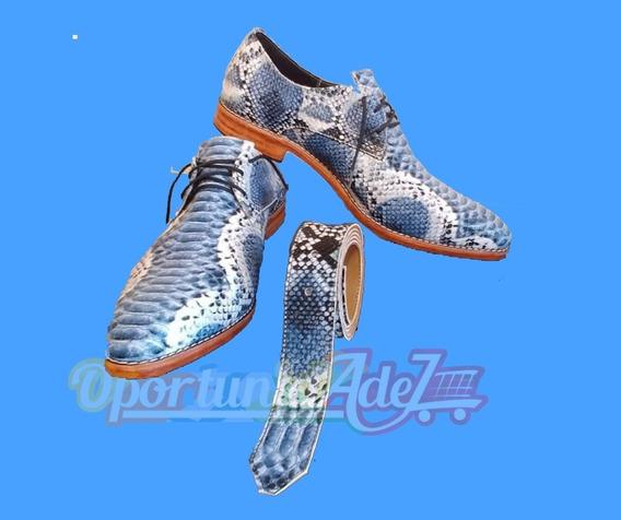 Zapatos De Hombres De Vestir Cuero Víbora Celeste