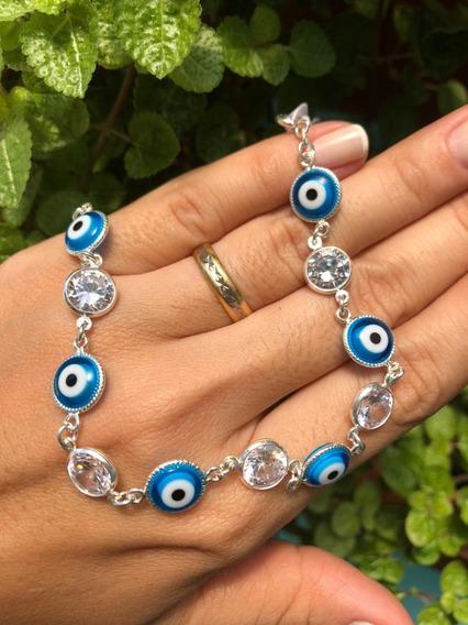 Pulseira Olho Grego Com Zirconia Prata 925