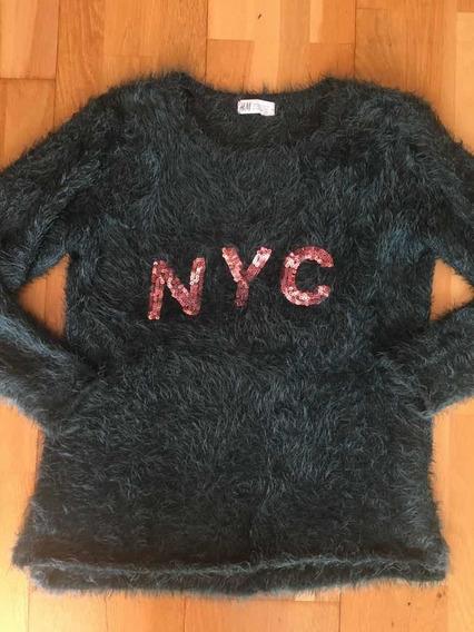 Sweater Nena Verde Hym Nyc Con Lentejuela Tipo Pelo De Mono