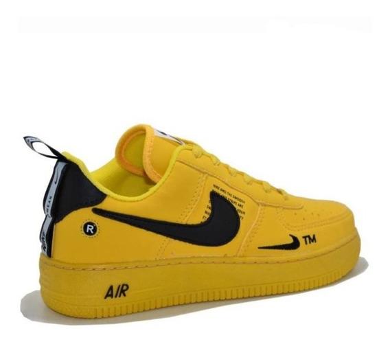 Tênis Nike Air Force Unissex Amarelo + Brinde + Frete Gratis