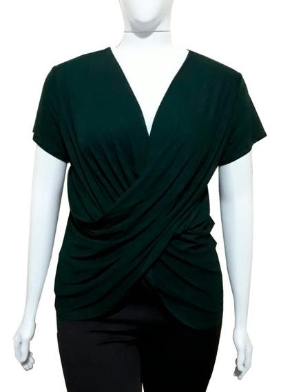 Blusa Plus Size T-shirt Camiseta Transpassada Cruzada 44/48