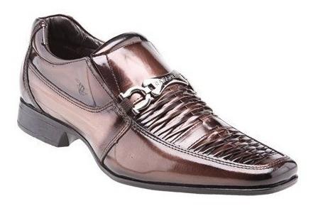 Sapato Social Onix Verniz Rafarillo Mogno Envernizado